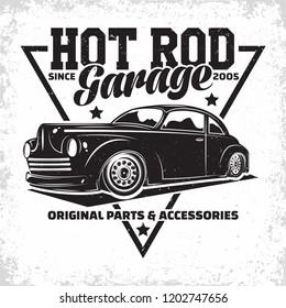 Hot Rod garage logo design, emblem of muscle car repair and service organisation, retro car garage print stamps, hot rod typography emblem, Vector