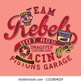 Hot Rod kids dragster car racing team, cute vector print and embroidery for children wear  with applique badges