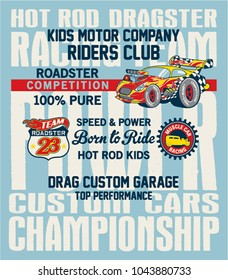 Hot Rod kids racing team, roadster motor vector print for children wear in custom colors with with applique badges