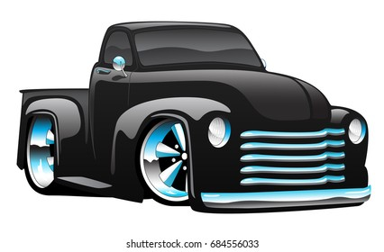 Hot rod pickup truck illustration, big rims and tires, shiny paint, lots of chrome.