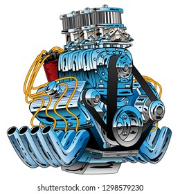 Hot Rod Race Car Dragster Engine Cartoon Vector Illustration