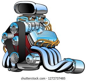 Hot rod race car engine cartoon, lots of chrome, huge intake, fat exhaust pipes, vector illustration