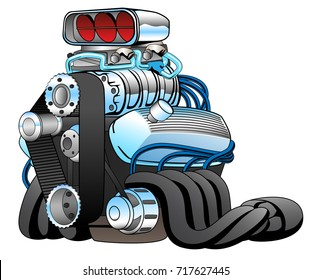 Hot rod race car engine cartoon vector illustration in bold colors and lots of chrome