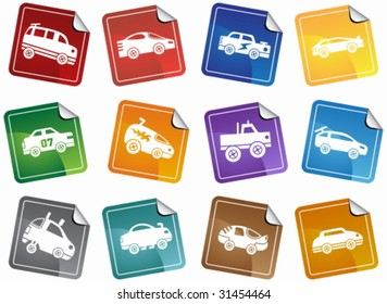 Hot Rod Race Car Sticker Icon Set : Group of custom racing car icons in a wide range of truck and car styles.