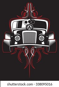 Hot rod. Retro car. pinstripes. vector