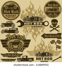 Hot rod style labels and signs set. Vector design elements.