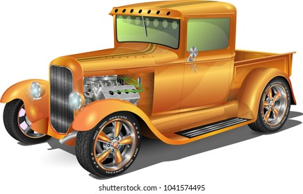 hot rod truck, fully editable.. with headlights on off option