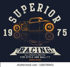 hot rod vector race custom car illustration