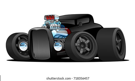 Hot Rod Vintage Coupe Custom Car Cartoon Vector Illustration. Mean, low and black, aggressive stance, big tires and rims, and a huge drag race top fuel engine.
