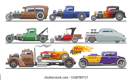 Hot rods car vector vintage classic vehicle and retro auto transport roadster illustration set of hot-rods automobile with fire isolated on white background.