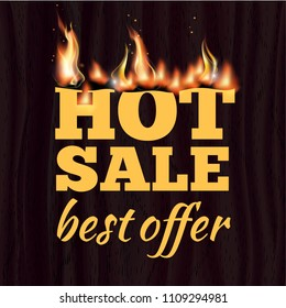 Hot sale badge design template with realistic fire flame on wooden texture. Vector illustration