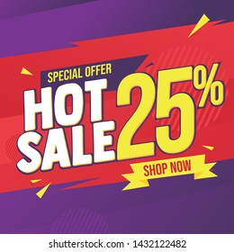 Hot Sale Banner, Discount 25%, red and purple vector banner, sale market label