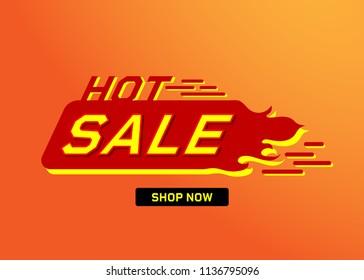 Hot sale banner with fire design vector illustration