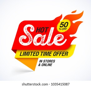Hot Sale banner. Limited time special offer, big sale, discount up to 50% off. Vector illustration.