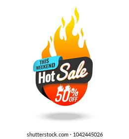 Hot Sale banner, this weekend special offer, vector illustration