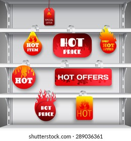 Hot sale clearance discount prices red  wobblers on empty department store display racks advertisement realistic vector illustration