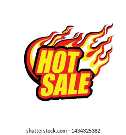 hot sale, colored blazing inscription with a flame, tongues of fire, flash. EPS 10 Isolated Vector Illustration