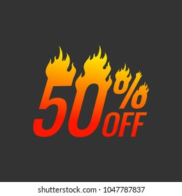 Hot Sale and Hot Deal banners, special offer, up to 50% off, vector illustration