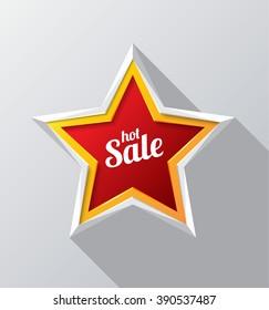 hot sale design with red star modern. Vector illustration