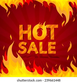 Hot sale design template. Frame of fire on a bright red background. vector