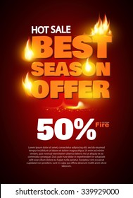 Hot Sale Design Template with Realistic Fire. Vector illustration
