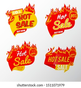 Hot Sale Fire banner collection. Template  Vector Illustration.