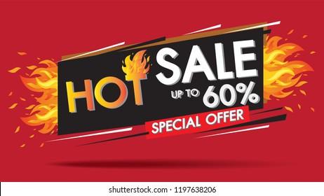 Hot Sale Fire Burn template banner concept design, Big sale special 60% offer.End of season special offer banner shop now.