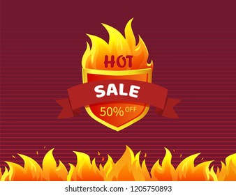 Hot sale heraldic badge with promo offer 50 percent off, burning fire flame on striped background. Vector illustration label with heat sign isolated icon