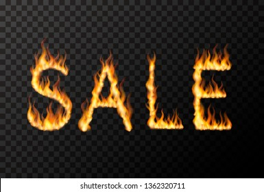 Hot SALE phrase made from bright realistic fire flames on transparent background