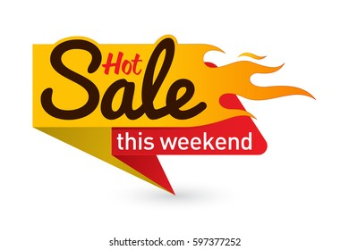 Hot sale price offer deal vector labels templates stickers designs with flame. Vector illustration.
