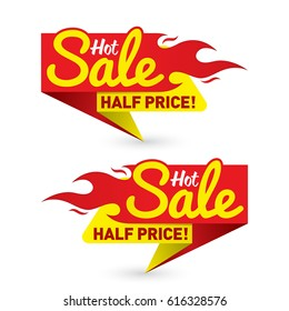Hot sale price offer deal vector labels templates stickers designs with flame. Vector illustration