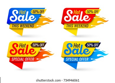 Hot sale price offer deal vector labels templates stickers designs with flame. Vector illustration set
