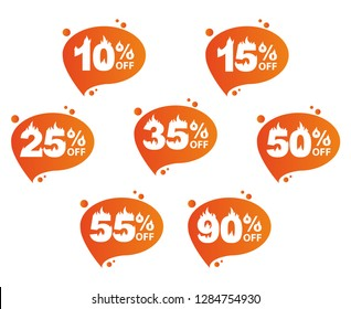 Hot sale, a set of icons with the amounts of discounts. Ten percent, fifteen, twenty-five, thirty-fivet, fifty, fifty five percent, ninety percent. Flame figures. Set of vector icons