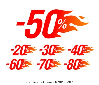 Hot sale special offer discount labels set, stickers, vector illustration