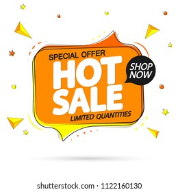 Hot Sale, special offer, tag design template, speech bubble banner, app icon, vector illustration