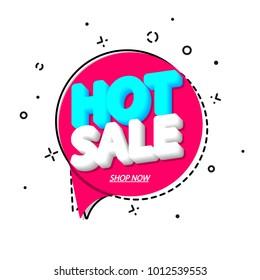Hot Sale, speech bubble banner, discount tag design template, app icon, vector illustration