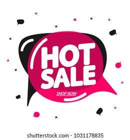 Hot Sale, speech bubble banner, discount tag design template, app icon, vector illustration