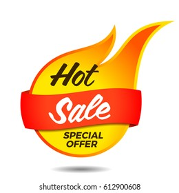 Hot sale vector flaming label sticker banner symbol template design tag