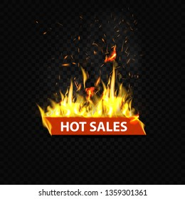 Hot sales, flaming web banner, button