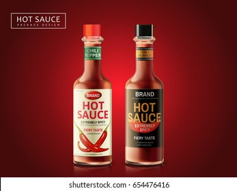 hot sauce bottle package design, dark red background, 3d illustration