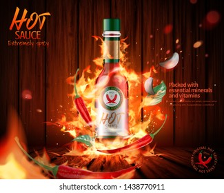 Hot sauce product ads with burning fire effect on wooded plank background, 3d illustration