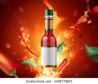 Hot sauce product with burning fire and chili on glitter red background, 3d illustration