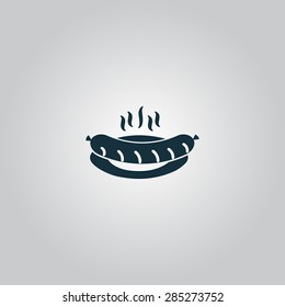 Hot Sausage on a plate. Flat web icon or sign isolated on grey background. Collection modern trend concept design style vector illustration symbol