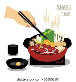Hot shabu, Shabu pot objects vector design objects.