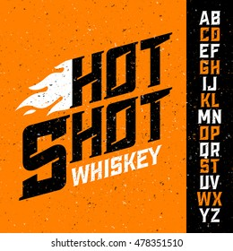 Hot Shot Whiskey vintage font with sample label design. Ideal for any design in vintage style. Vector illustration, eps10.