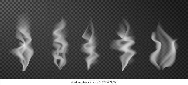 Hot smoke. Food coffee tea steam. Realistic white vapor effect. Cigarette cloud wave