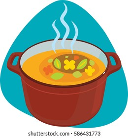 Hot soup in the dutch oven. Isolated. On blue background.