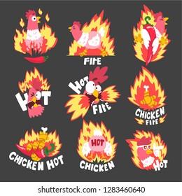 Hot spicy fire chicken set, creative logo design templates vector Illustration