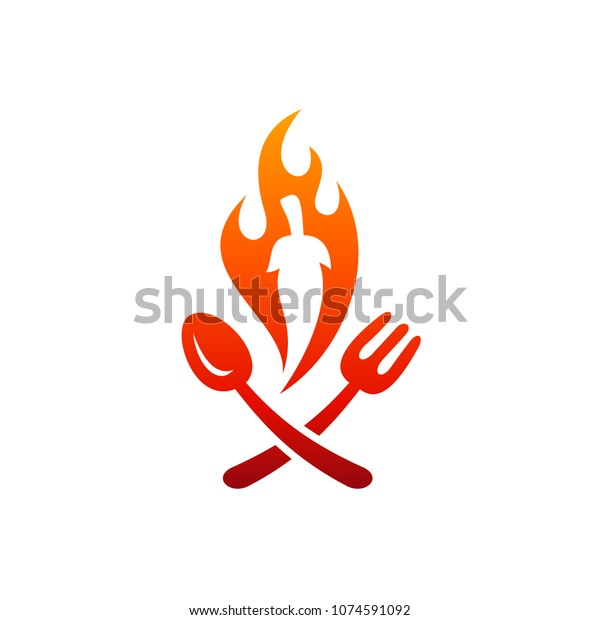 Hot Spicy Food Logo Template Ready Stock Vector Royalty