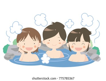 Hot spring image - woman group